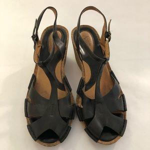 Clarks Artisan Black Cork Wedge Sandals